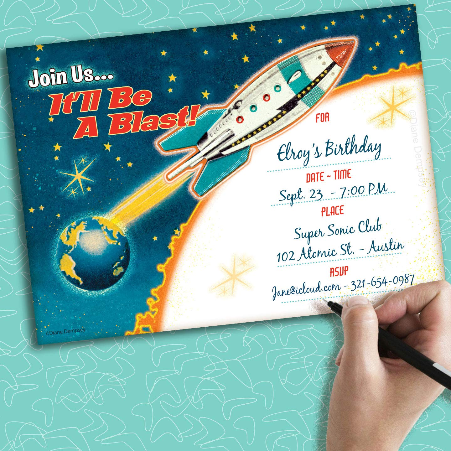 Amazon.com: Retro Rocket rellenar invitaciones, 25 ...