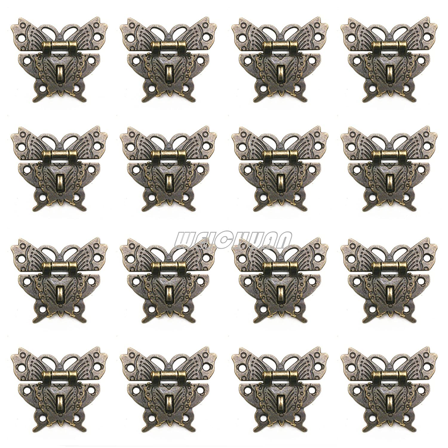 WEICHUAN 16 Sets Antique Bronze Decorative Butterfly Clasp Hasp Latches For Crafting Wooden Case Chest Toolbox