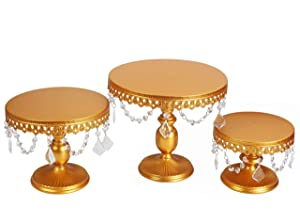 VILAVITA 3-Set Antique Cake Stand Round Cupcake Stands Metal Dessert Display with Pendants and Beads, Gold