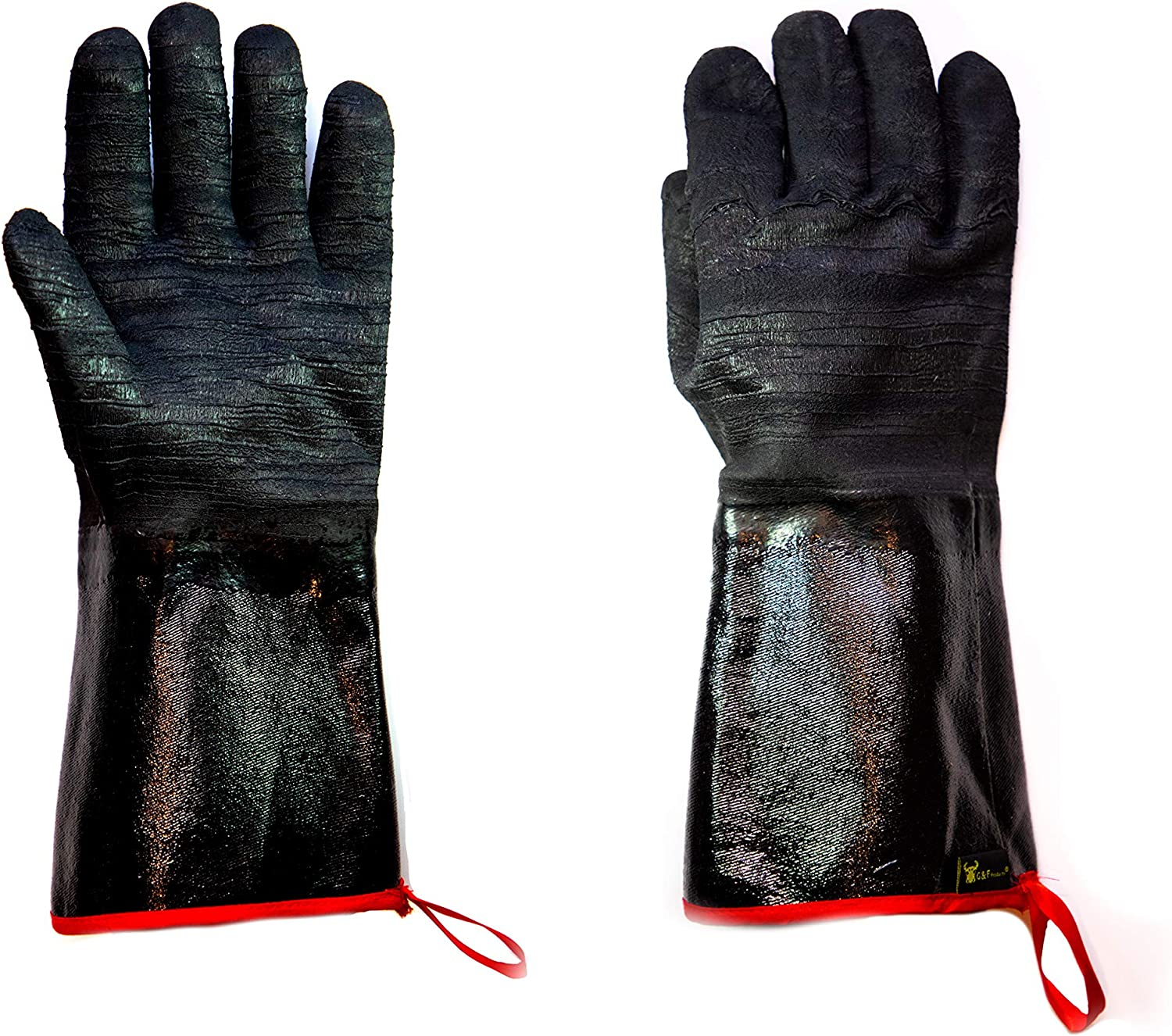 G & F Products 8119-13Inch Cooking Gloves FDA Food Safe No BPA Insulated Waterproof, Oil Proof Heat Resistant BBQ, Smoker, Grill, and Outdoor Neoprene Material Made in USA 13 Inch Long, Black