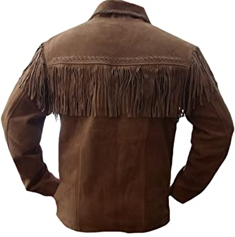 Classyak Mens Western Cowboy Fringed High Quality Suede ...