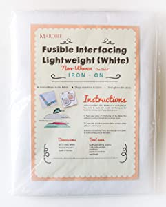 MAROBEE White Fusible Interfacing Lightweight Non-Woven for Sewing and Webbing Projects, Ultra Adhesive Bond Iron-On One Sided - Cutaway Embroidery Stabilizer DIY Crafts (40 Inch x 3 Yard)