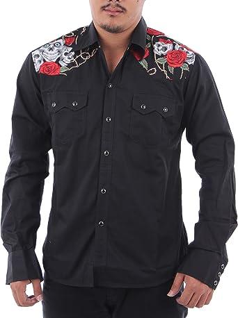 Mens Black Western Cowboy Shirt Rockabilly
