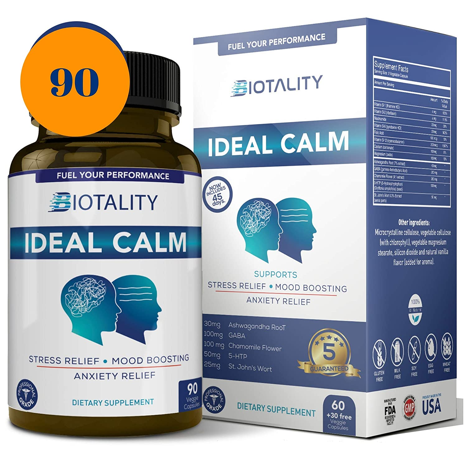 Ideal Calm Natural Mood Enhancer and Mood stabilizer Serotonin Mood Booster and cortisol Manager for Natural Anxiety Relief, 6 Week Supply with Ashwagandha, Chamomile, St. John s Wort