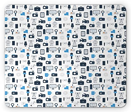Ambesonne Blue and White Mouse Pad, Journalism Mass Media Communication  Theme Icons Press TV News, Standard Size Rectangle Non-Slip Rubber  Mousepad,