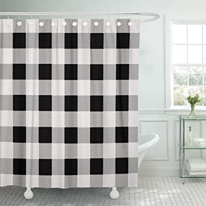 Amazon Emvency Shower Curtain Buffalo Black And White