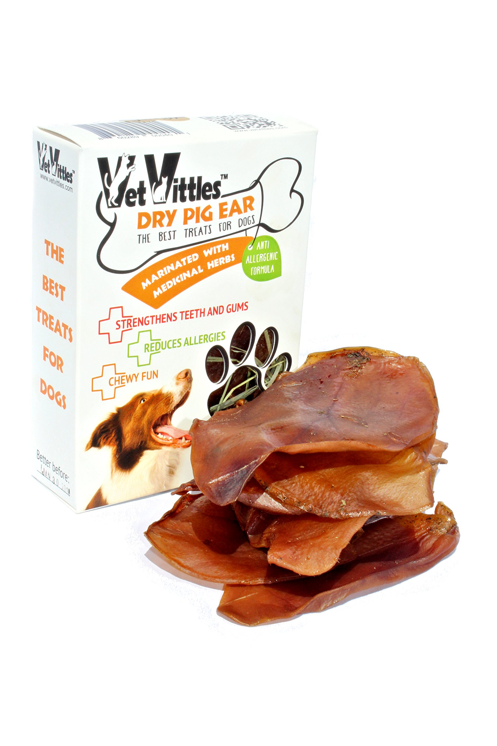VetVittles 6 Piece Dry 100% Natural Pig Ear Treats for Dogs and Puppies, Herbal Supplement