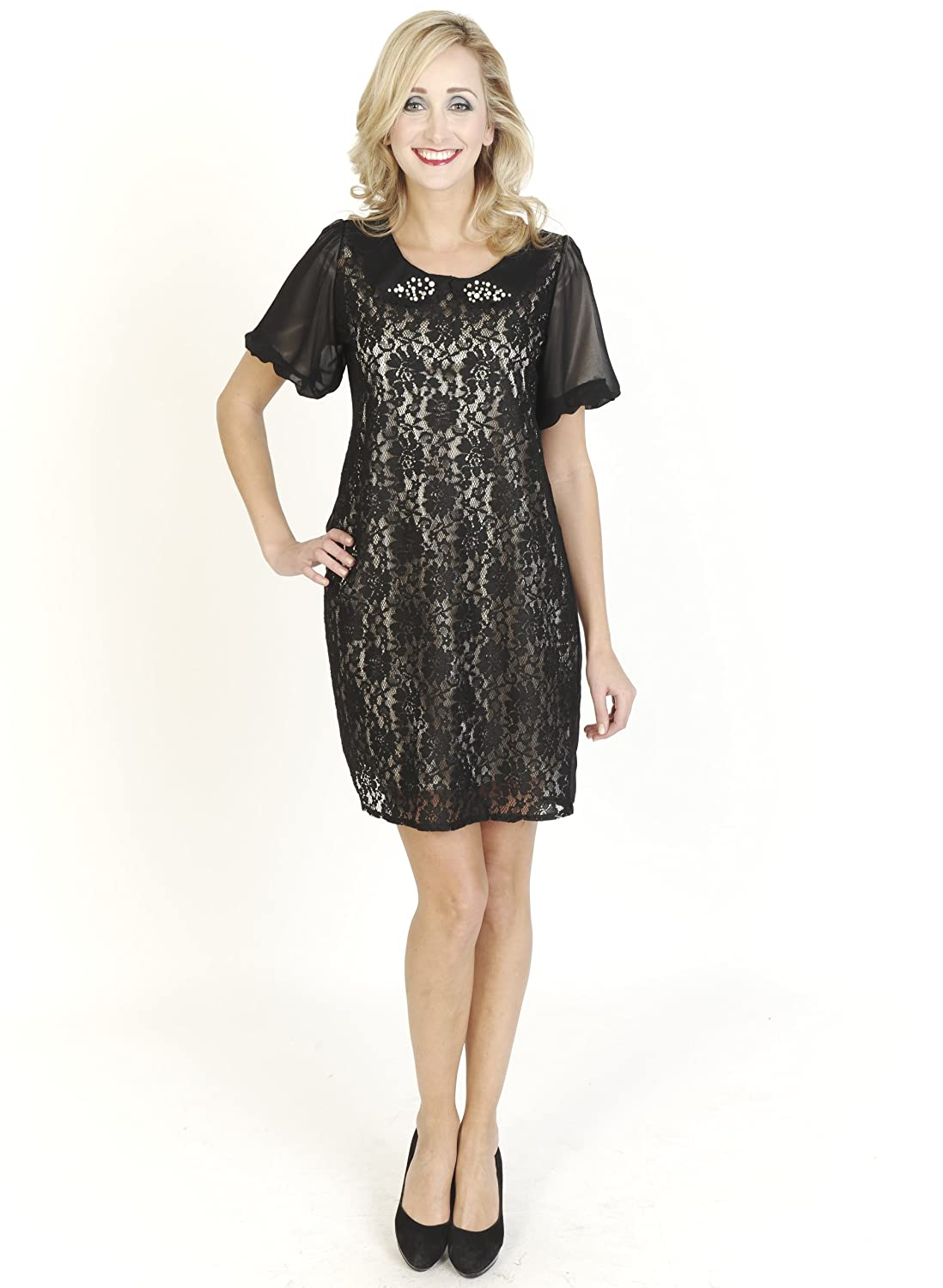 Black Bielle Short Mini Short Sleeve Shift Style Collared Floral Lace Day Dress