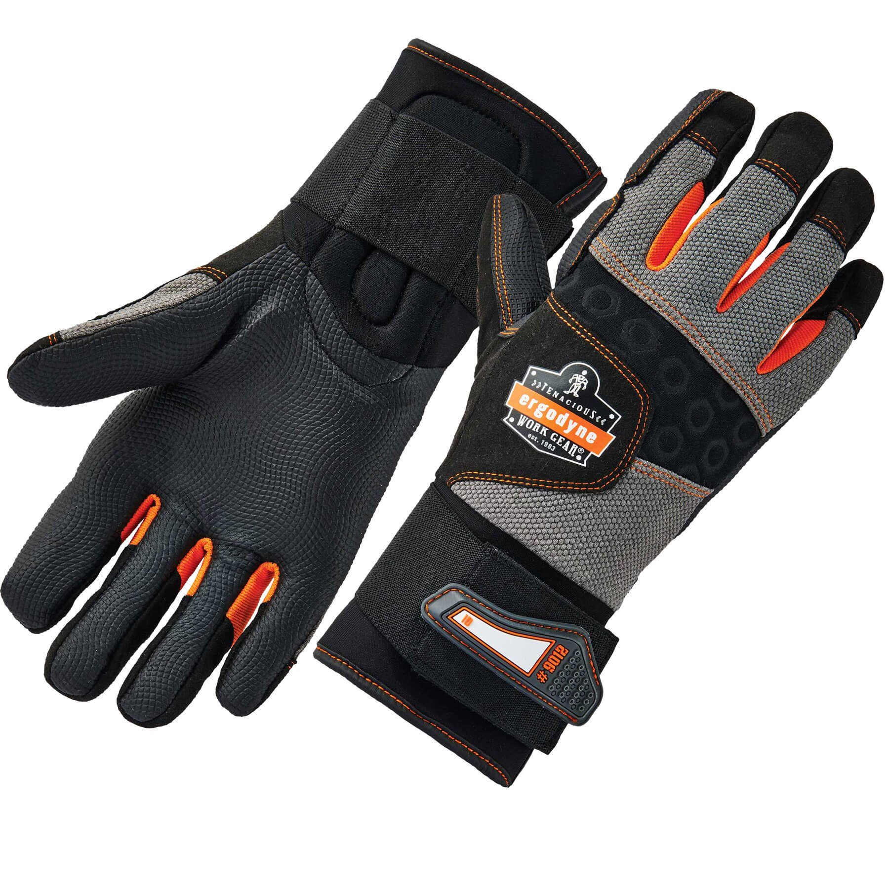 Ergodyne ProFlex 9012 Anti-Vibration Work Gloves, ANSI/ISO Certified, Full Fingered, Wrist Support, Large