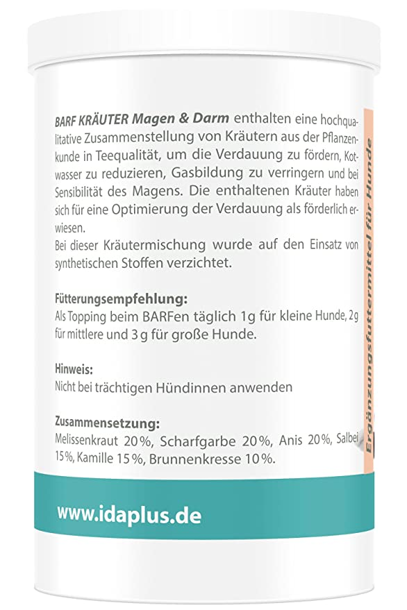 Ida Plus BARF Kräuter Magen & Darm Nahrungsergänzung (100% natürlich ...