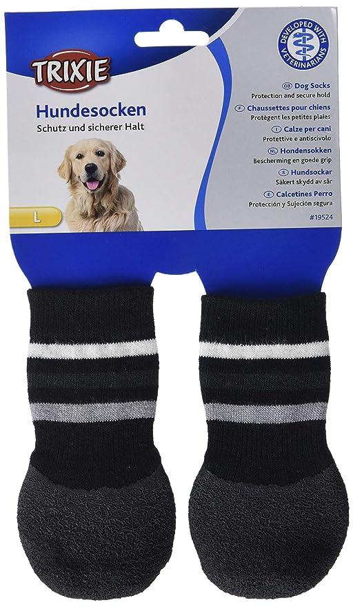 Trixie - Calcetines para Pero, Antideslizante, Negro, L/XL