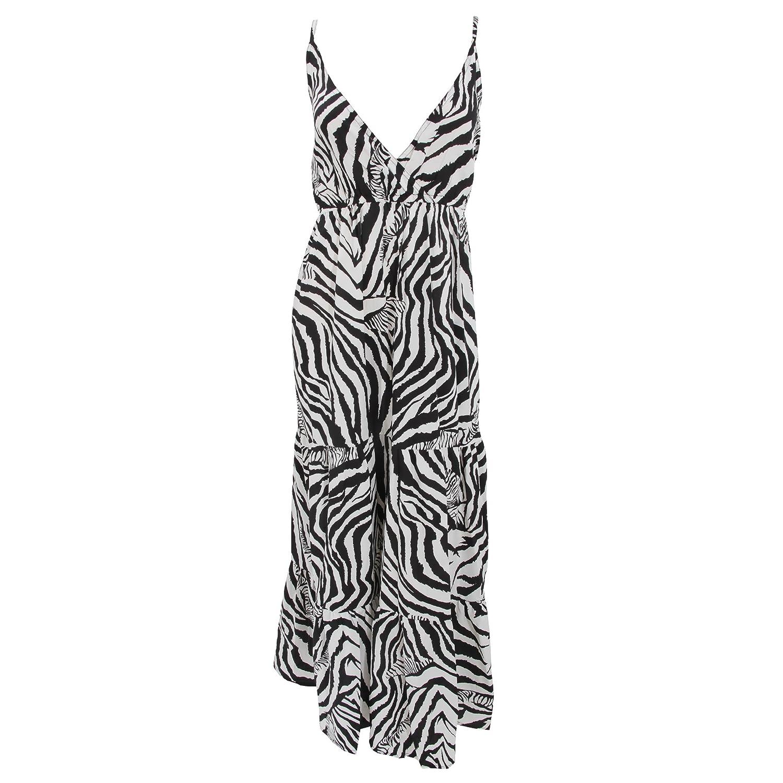 Damen Sommerkleid / Trägerkleid / Maxi-Kleid mit Zebra-Muster