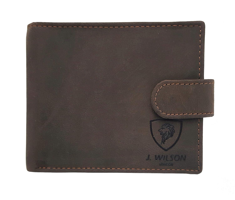 RFID Blocking Designer J WILSON London Real Leather Mens Wallet Holder Zip Coin Pocket Gift Box