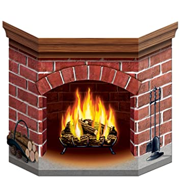 amazoncom brick fireplace stand up party accessory 1 count 1pkg christmas decorations indoors kitchen dining - Brick Fireplace
