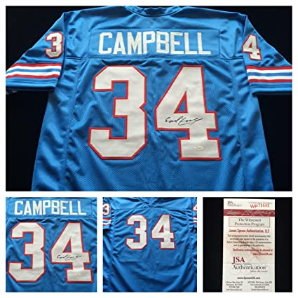 new style 615d6 2bb0c Earl Campbell Signed Jersey - Blue COA - JSA Certified ...