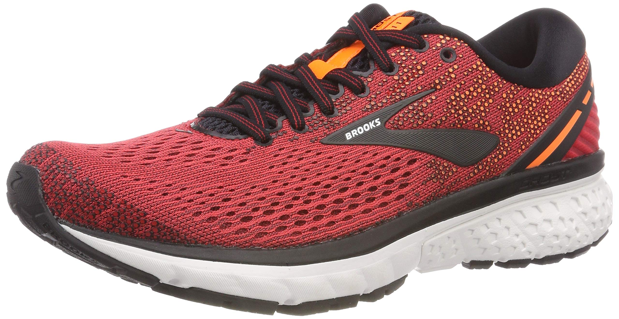 Brooks Mens Ghost 11 Running Shoe - Red/Black/Orange - D - 7.0
