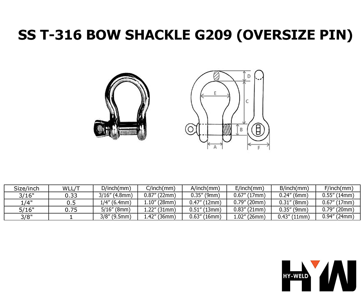 9.5mm 3//8 T-316 Stainless Steel Bow Shackle Marine Grade 3//16 to 3//8 Oversized Pin