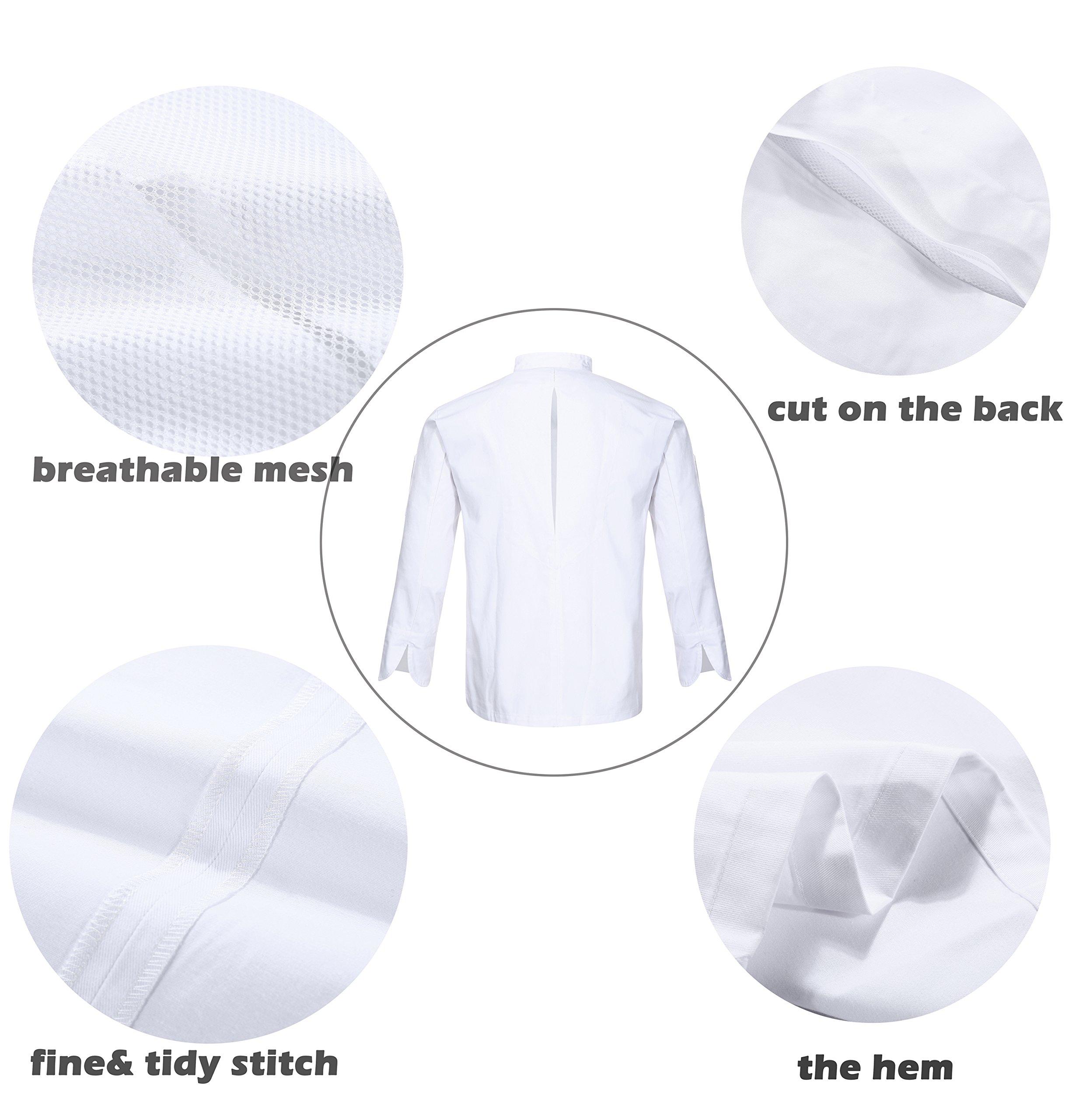 Nanxson(TM Kitchen Cotton Uniform Roll-up Sleeve Chef Working Coat with Air Mesh CFM0028 (White, L) by Nanxson (Image #3)