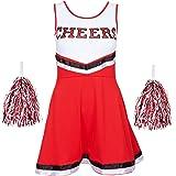 Redstar Fancy Dress - Disfraz de Animadora con Pompones - para Mujer - 6 Colores y Tallas 34 a 44 - Rojo - S