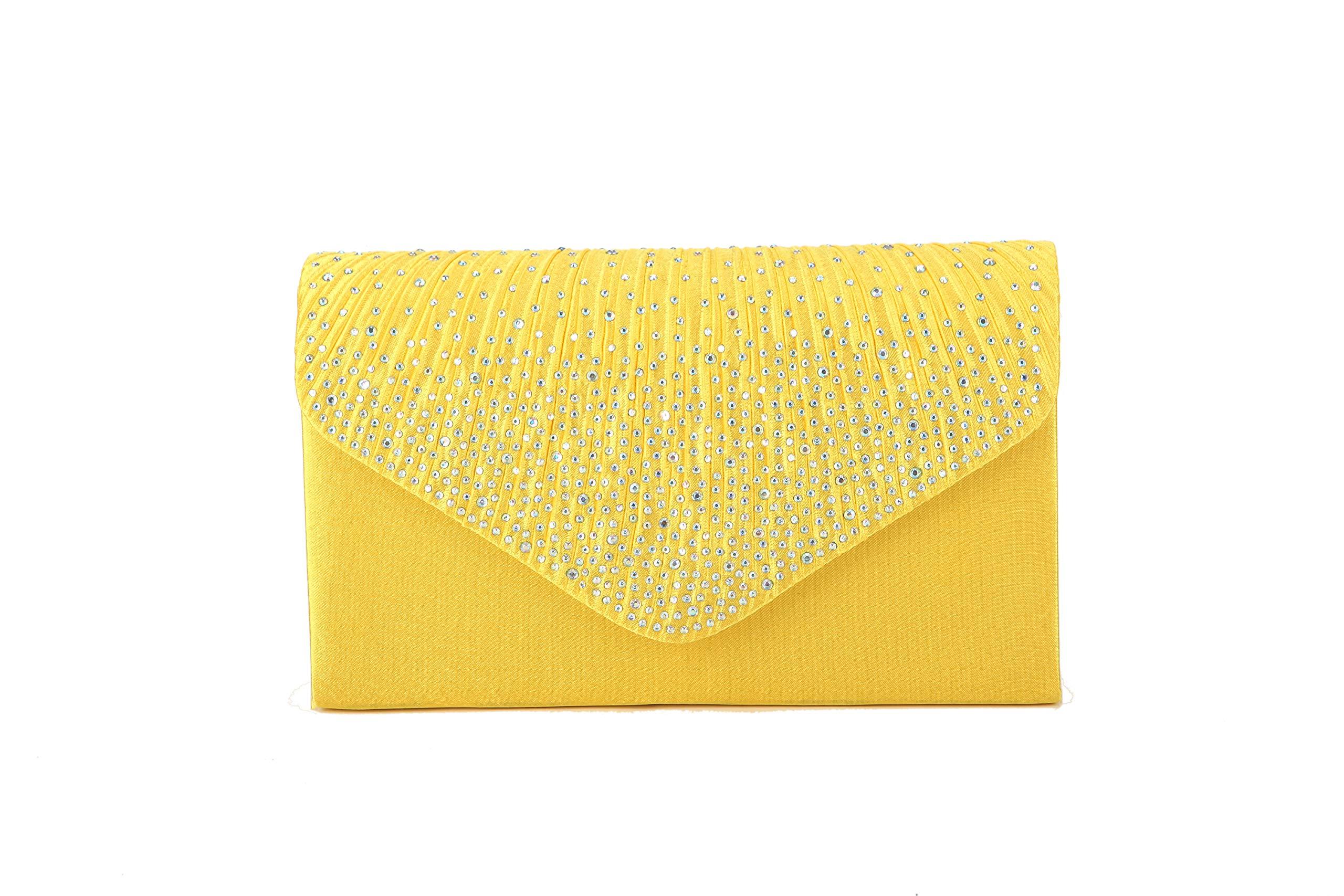Nodykka Women Evening Envelope Rhinestone Frosted Handbag Party Bridal Clutch Purse Shoulder Cross Body Bag