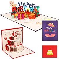 olyee 2 Pcs 3D Pop Up Birthday Cards Gift Greeting Happy Birthday Cards Funny with Envelope 3D Popup Birthday Greeting…