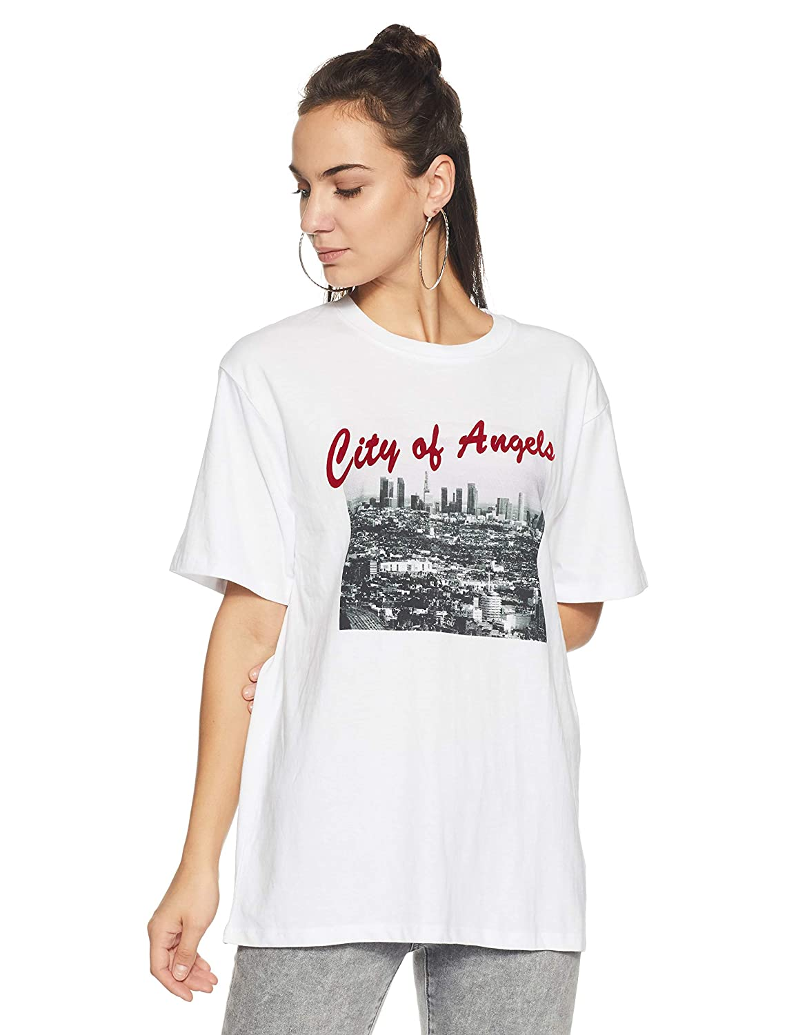 244526c8 Forever 21 Women's City of Angels Graphic Tee Logo 190057, Medium,  White/Black: Amazon.in: Clothing & Accessories