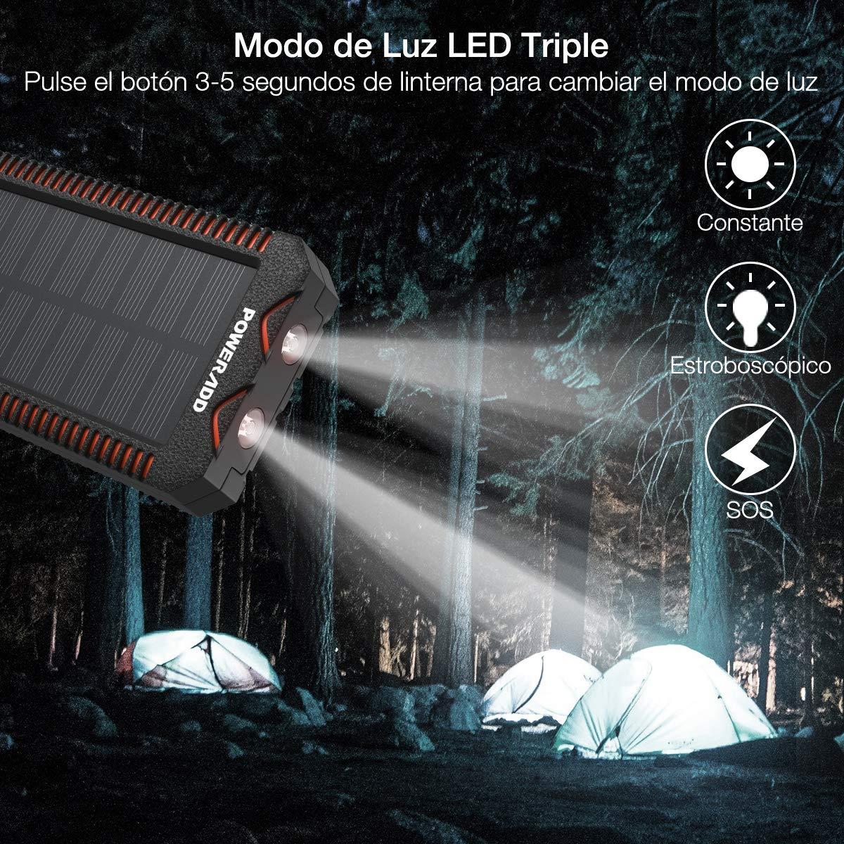 Poweradd Cargador Solar Portátil con 12000mAh, Batería Externa 2 Puertos de USB ( 5V/2.4A*2, 5V/3.4A Total ) Panel Solar con Alta Eficiencia de Conversión Impermeable Inteligente, Color Naranja y Negro.
