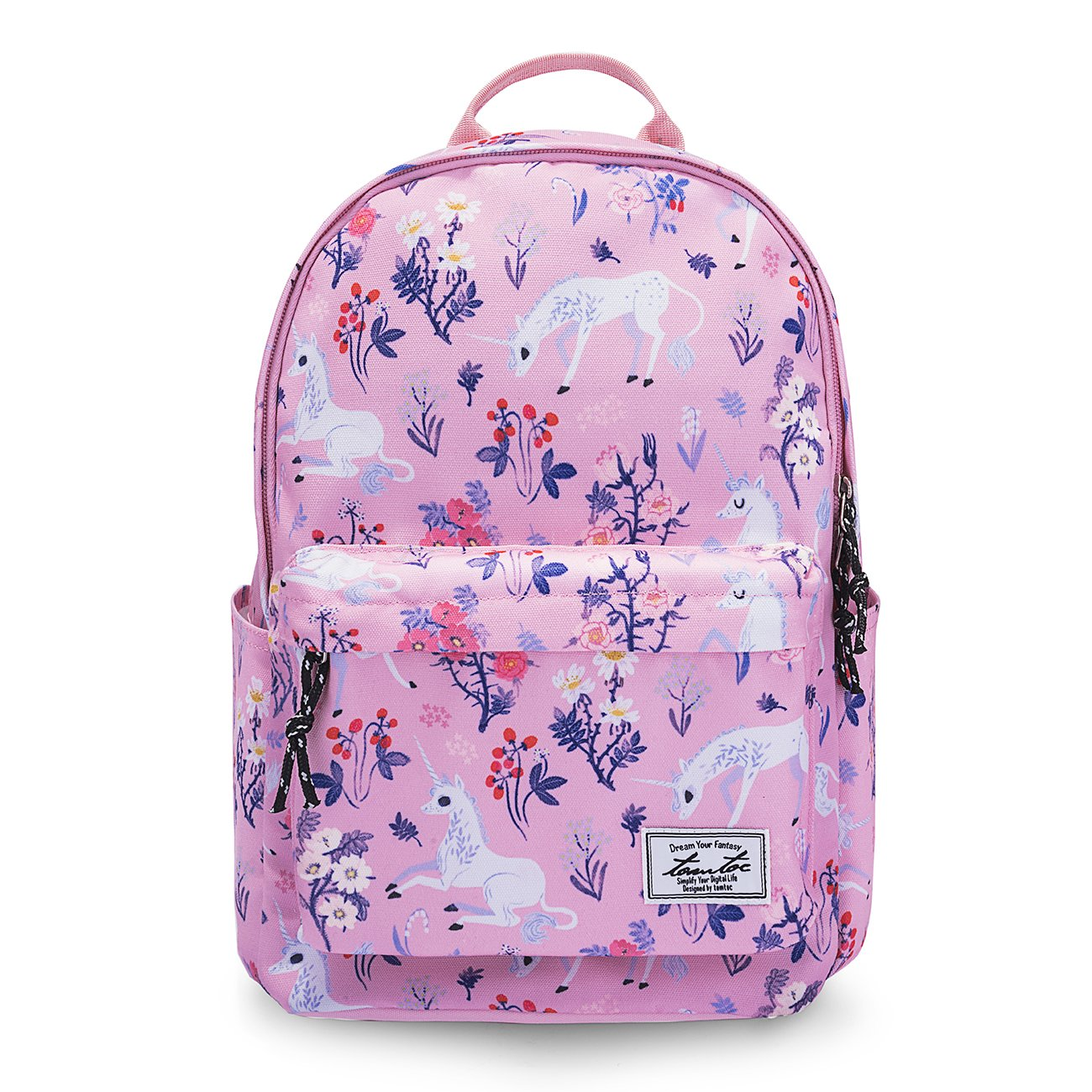 tomtoc College Backpack for Women Girls, 14 Inch Laptop Backpack Computer Bag Daypack Travel Bag School Bookbags Outdoor Weekend Bag – Fits up to 15 Inch MacBook, Unicorn Pink