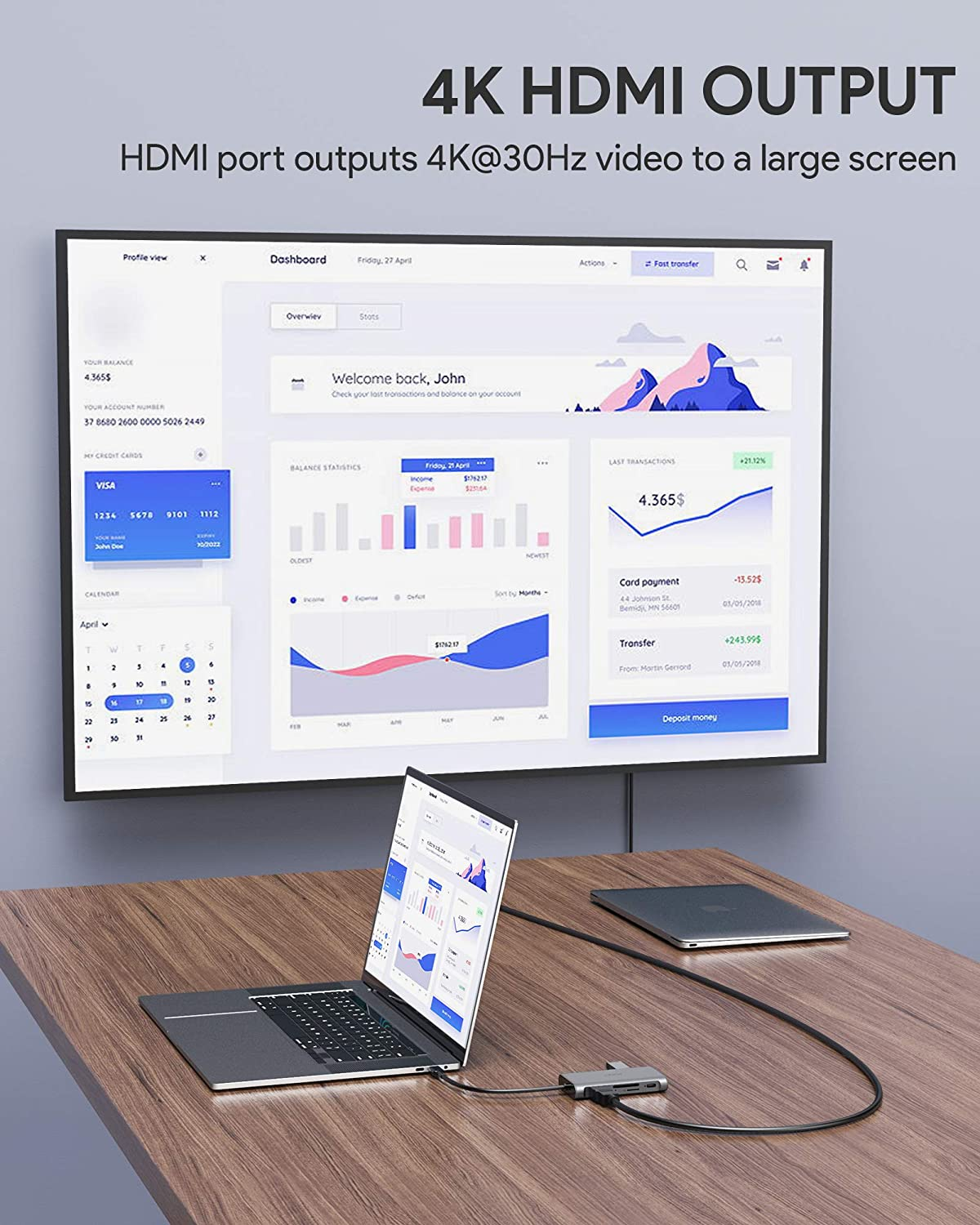 Gigabit Ethernet HP Dell 100W PD Charging and SD/&Micro SD Card Reader USB C Adapter Aluminum for MacBook Pro//Air 3 USB 3.0 Thunderbolt 3 AUKEY USB C Hub 8-in-1 with 4K HDMI