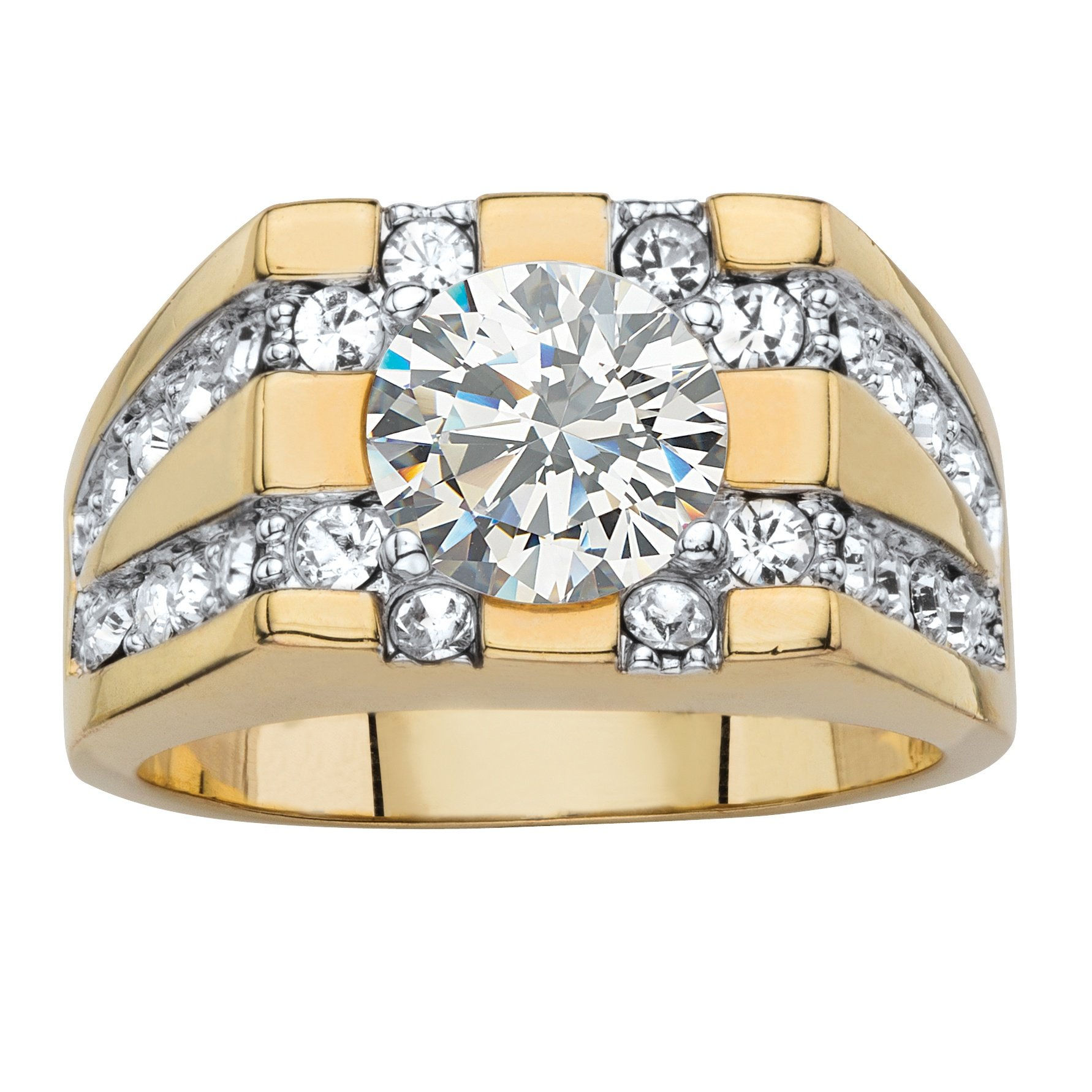 Palm Beach Jewelry Men's Round White Cubic Zirconia 14k Gold-Plated Grid Ring Size 13 by Palm Beach Jewelry