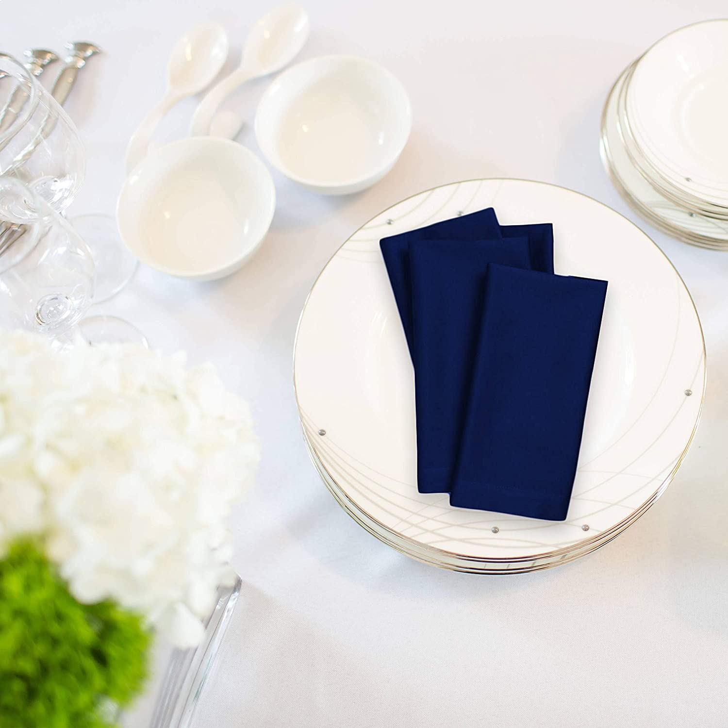 Kadut Cloth Napkins - 17 x 17 Inch Solid Navy Blue Washable Polyester Dinner Napkins - Set of 12 Napkins with Hemmed Edges - Great for Weddings, Parties, Holiday Dinner & More: Home & Kitchen