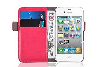Funda iPhone 4 4S – carcasa iPhone 4 4S | JAMMYLIZARD – Funda estilo libro Deluxe Range tarjetas cierre magnético, Rosa fucsia