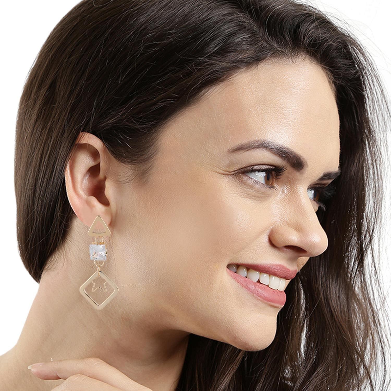 Efulgenz Gold Tone CZ Long Chain Bar Linear Hoop Tassel with Triangle Ear Studs and Star Shape Geometric Charm Dangle Drop Earrings for Girls and Women
