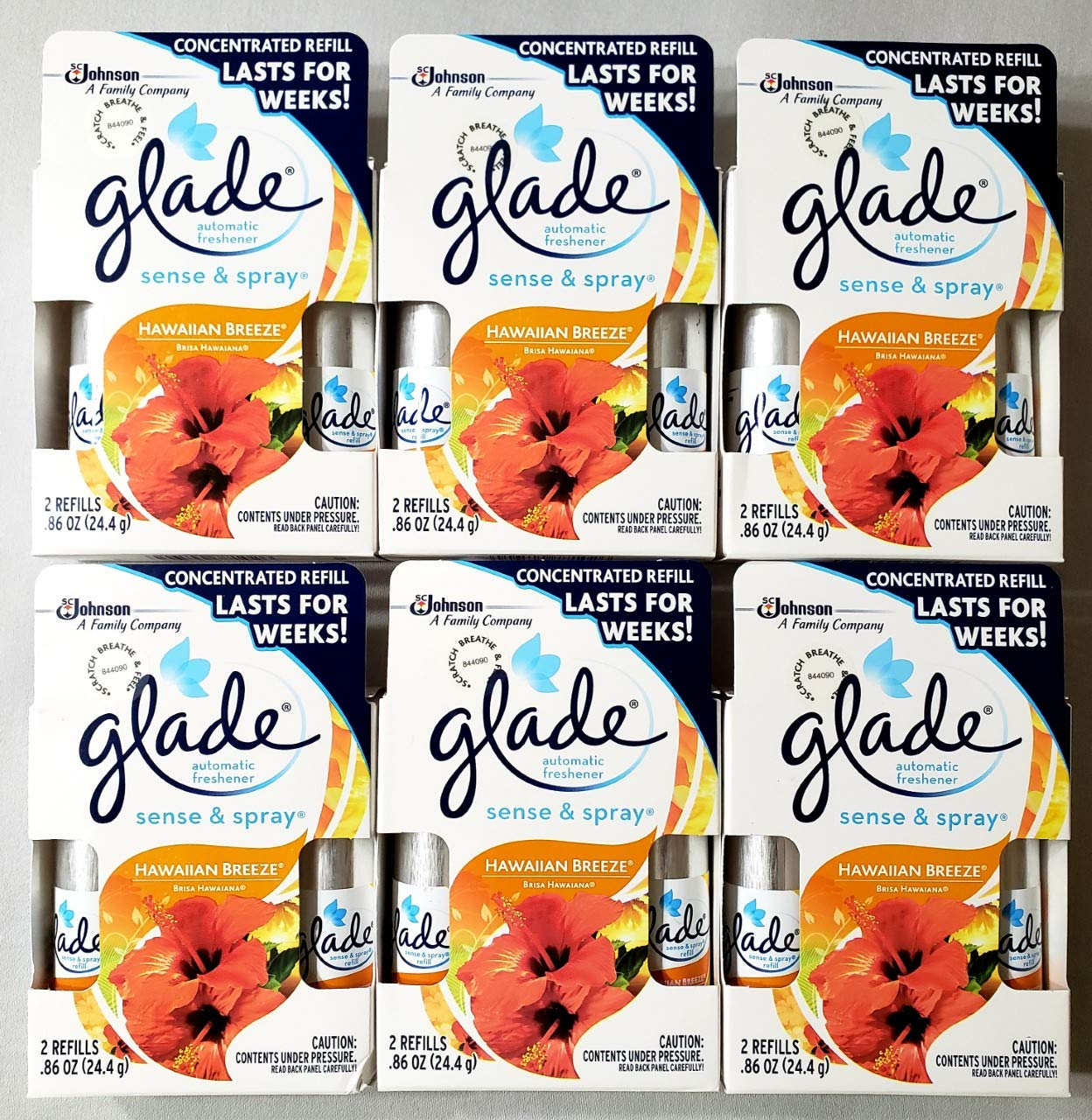 12 Glade Sense & Spray Automatic Refills, Hawaiian Breeze (6 Twin Packs) in Box
