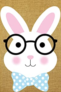 """Texupday Happy Easter Glasses Bunny Double Sided Burlap Garden Flag Bow Decoration Spring Outdoor Yard Flag 12"""" x 18"""""""