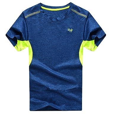 22d13e37a9be Echinodon Jungen Shirt Sport Schnelltrockend Outdoor T-Shirt Trainingsshirt  Jogging Kurzarmshirt