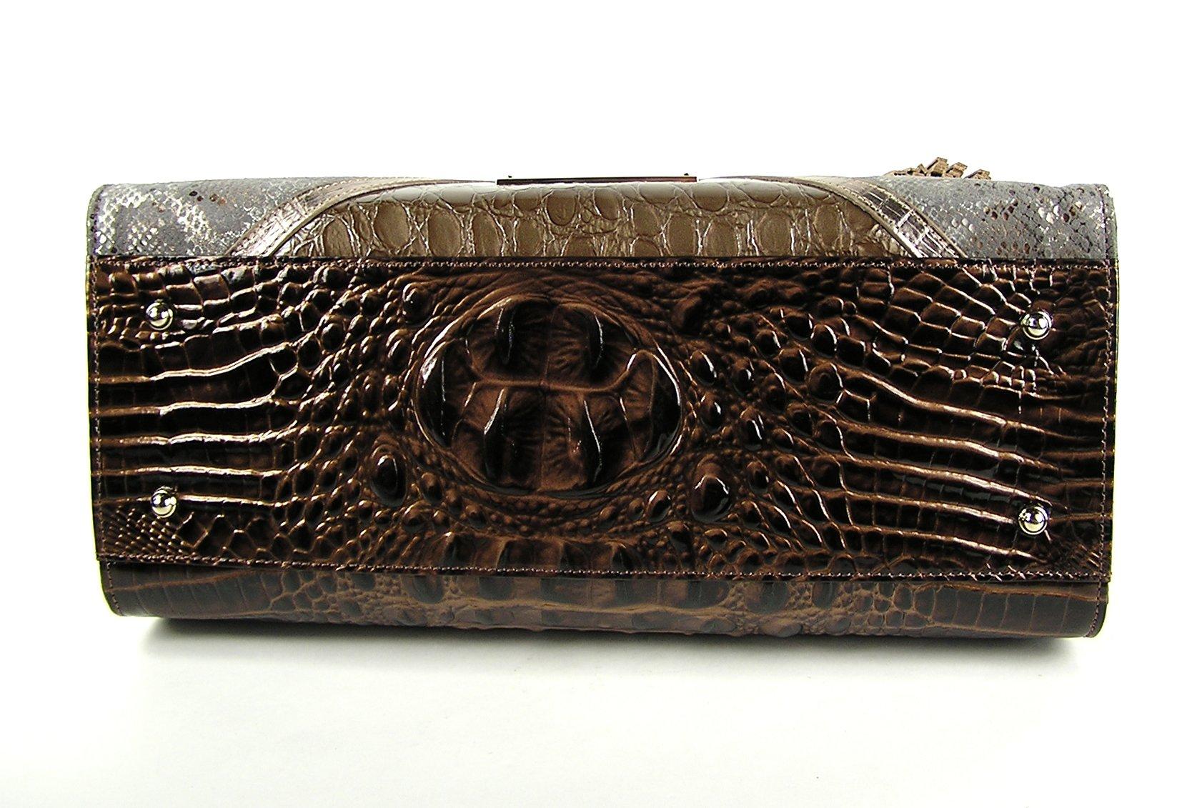Brahmin Brown Tempera Collection Priscilla Tasseled Patchwork Satchel