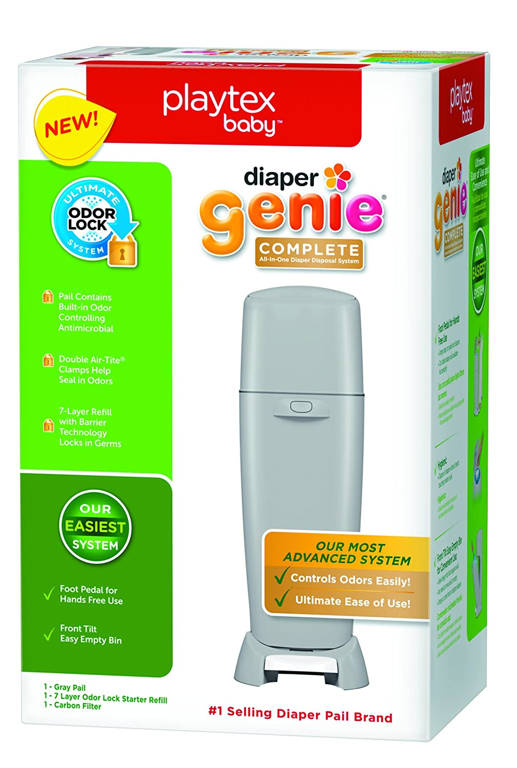 Amazon.com: Playtex Diaper Genie Complete Diaper Pail with Odor Lock  Technology, Gray: Baby