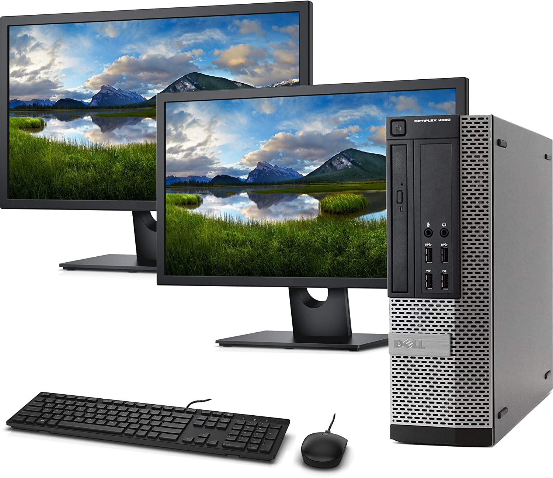 Dell OptiPlex 9020 SFF Computer Desktop PC, Intel i5 Processor, 16GB Ram, 128GB M.2 SSD + 2 TB HDD, Dual FHD 24