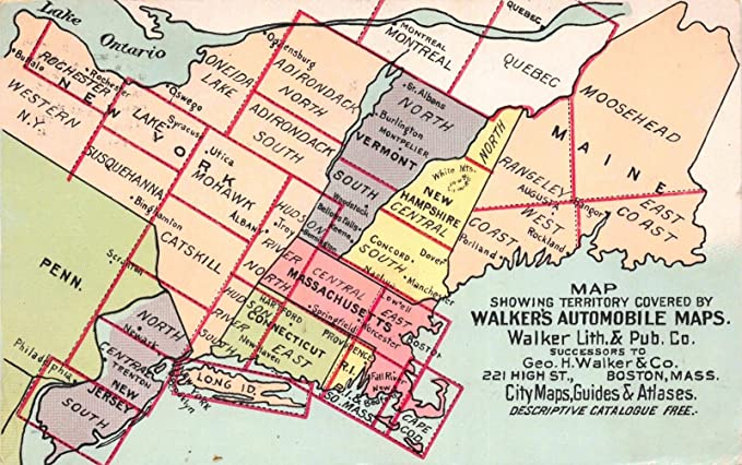 Amazon.com: Postcard Walker Automobile Maps Maine Vermont New York ...