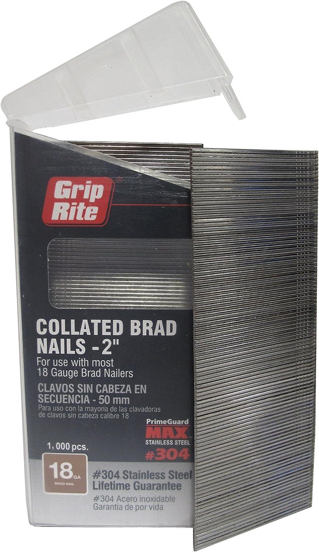 Grip Rite Prime Protector maxb64878 calibre 18 304-stainless acero Brad clavos en caja de cinturón (paquete de 1000), 2