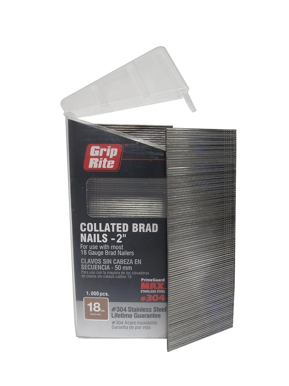 Grip Rite Prime Guard MAXB64878 18 Gauge 304 Stainless Steel Brad Nails in Belt Clip Box Pack of 1000 2