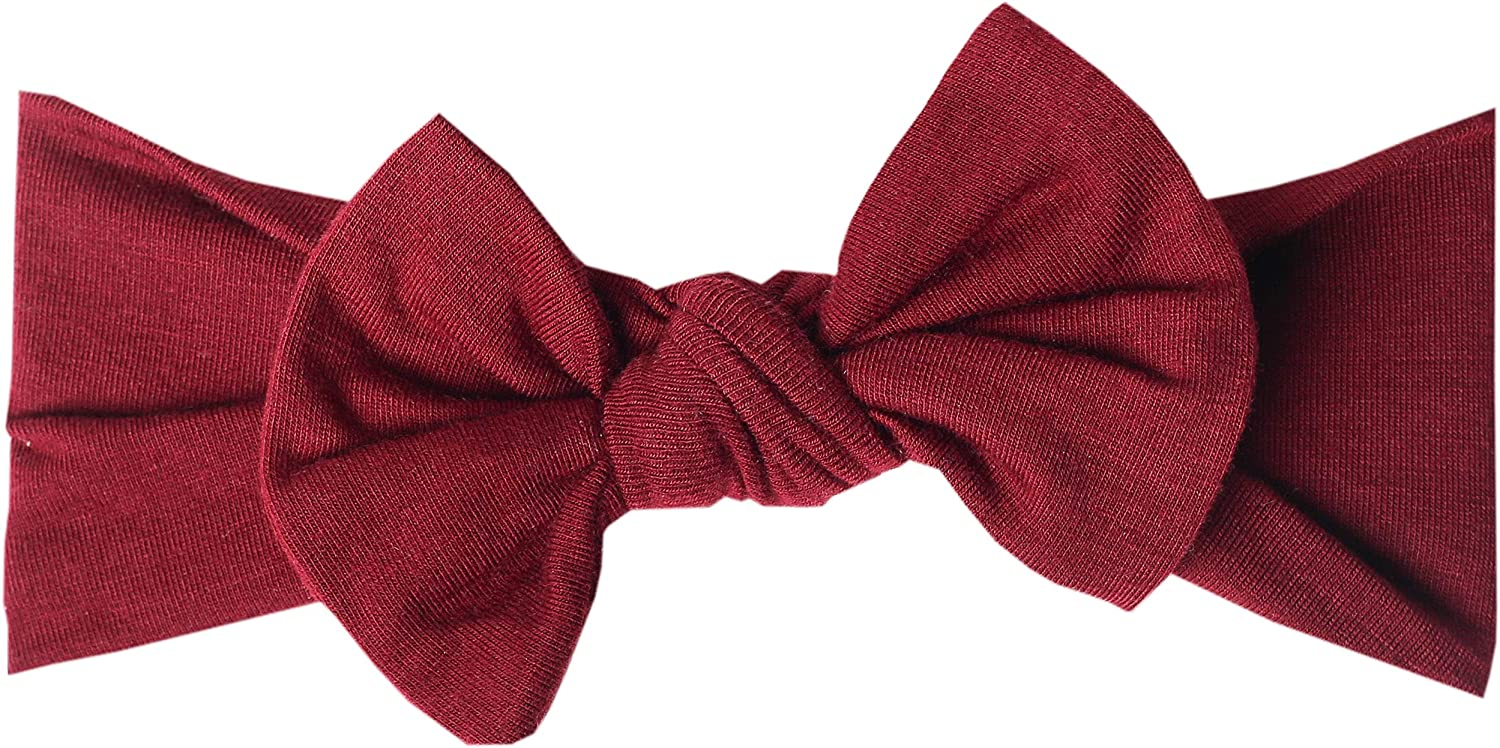 Copper Pearl Baby Stretchy Soft Knit Headband Bow