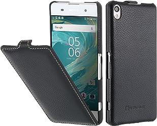 StilGut UltraSlim, housse en cuir pour Sony Xperia XA, en noir