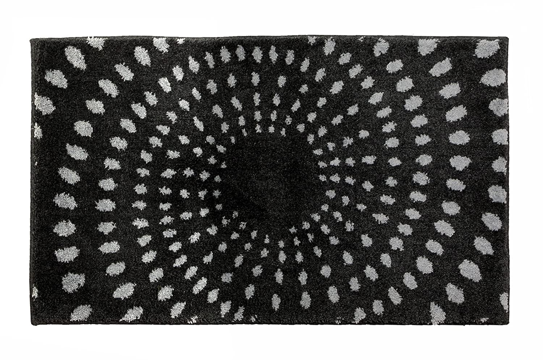 SCHÖNER WOHNEN-Kollektion, Mauritius, Badteppich, Badematte, Badvorleger, Design Kreise - anthrazit, Oeko-Tex 100 zertifiziert, 70 x 120 cm