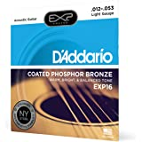 D'Addario EXP16 Coated Phosphor Bronze Acoustic Guitar Strings, Light, 12-53 – Offers a Warm, Bright and Well-Balanced Acoust