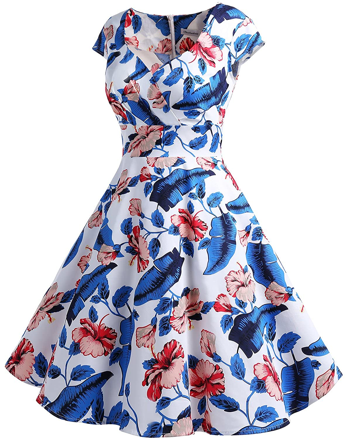 Bbonlinedress Womens Vintage 1950s cap Sleeve Rockabilly Cocktail Dress Multi-Colored