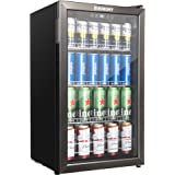 Euhomy Beverage Refrigerator and Cooler, 115-120 Can Mini fridge with Glass Door, Small Refrigerator with Adjustable Shelves