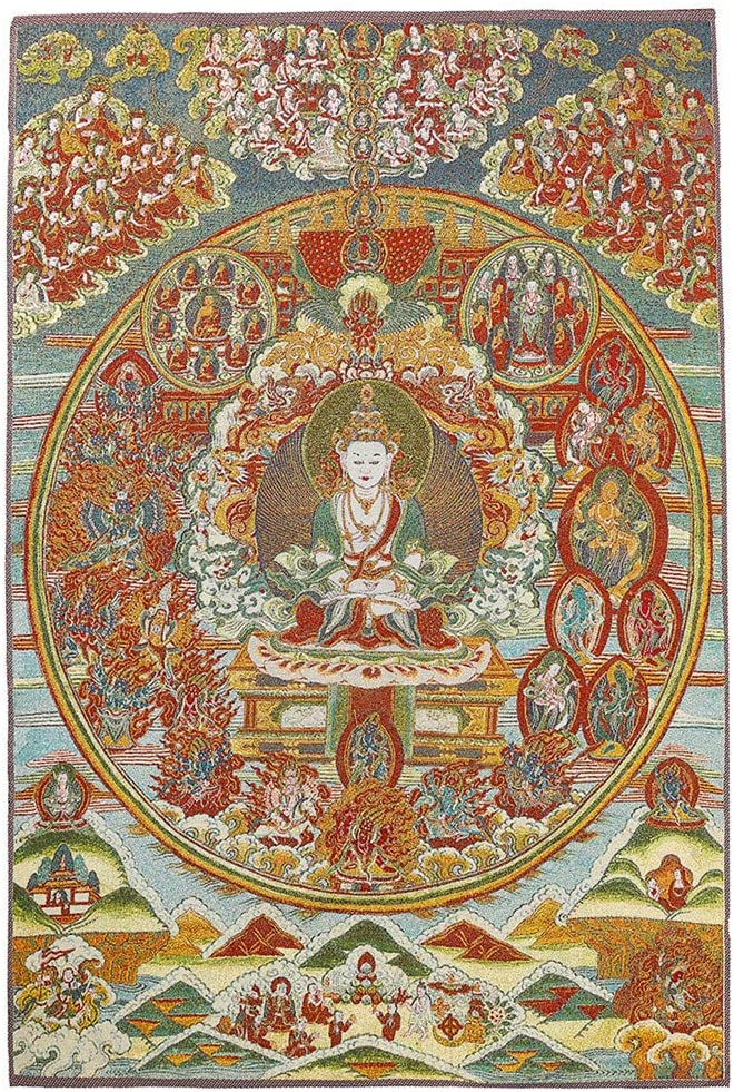 "24/""Tibet Buddhism Cloth Silk Happy Maitreya Buddha Thangka Embroidery Mural"