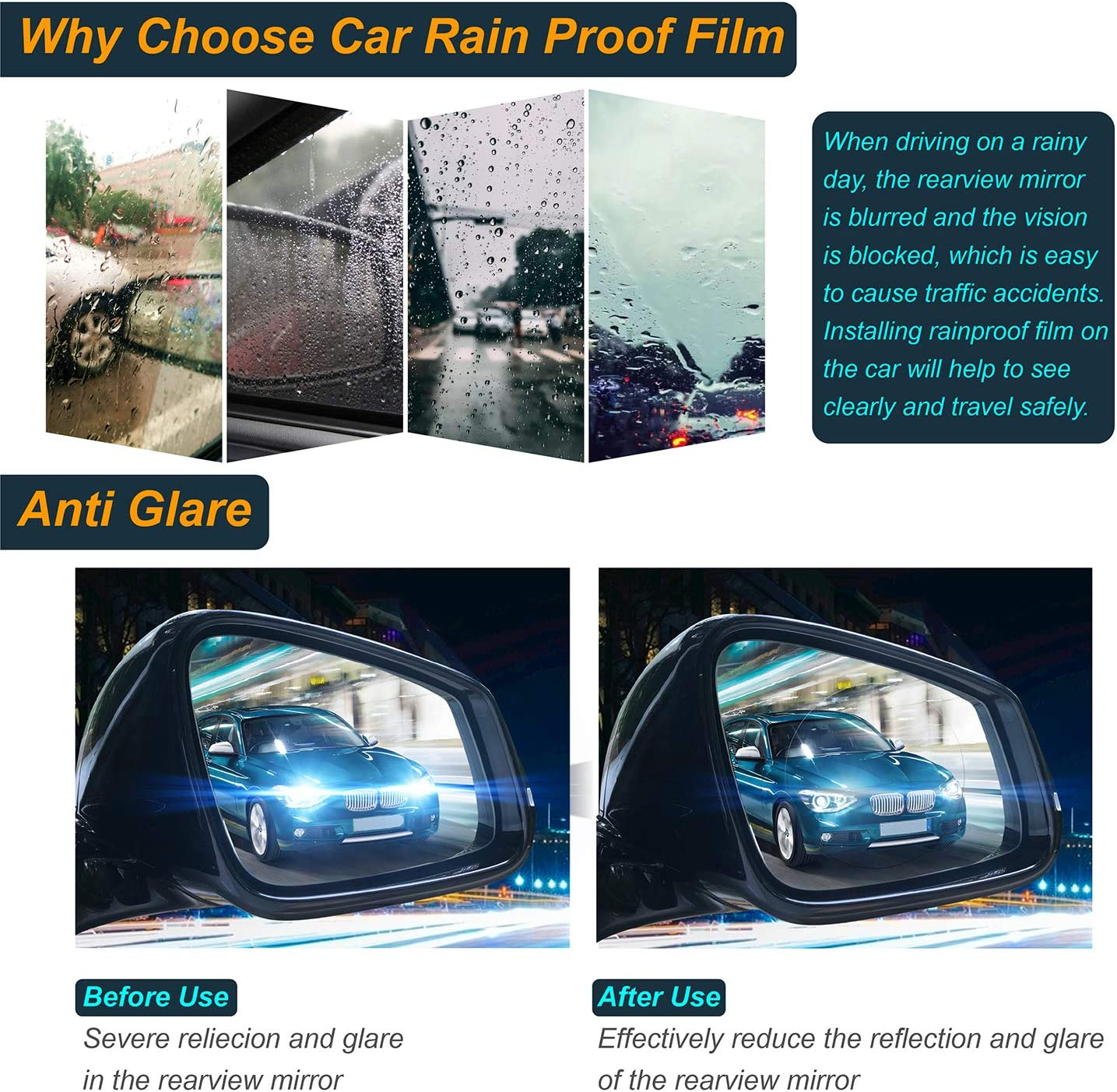 5PCS Car Rearview Mirror Film,Car Side View Mirror film Anti glare film for interior rearview mirror,Nano Rainproof Film Anti Fog Glare Mirror Window Film,Clear Protective Film for Car Mirrors